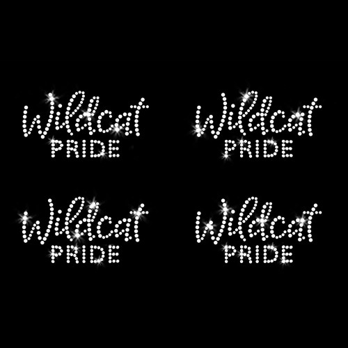 Set of 4 XS Wildcat Pride Iron On Rhinestone Transfers