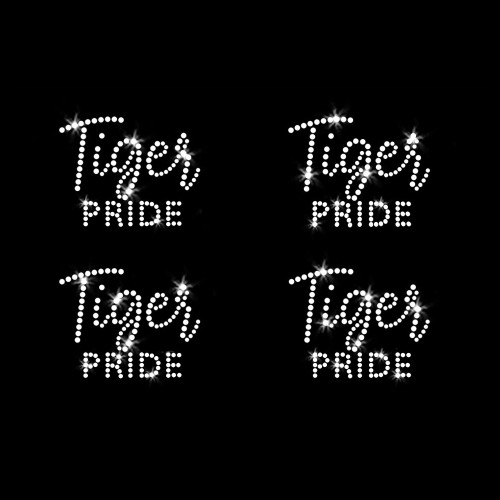 Set of 4 XS Tiger Pride Iron On Rhinestone Transfers