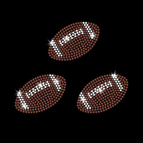 Set of 3 Football Balls Iron On Rhinestone Transfers
