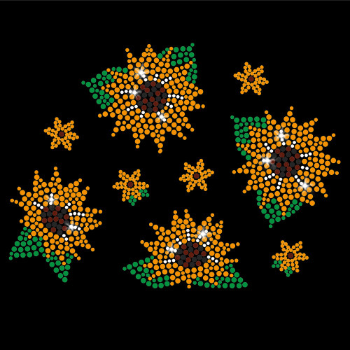 Sunflower Grove Iron On Rhinestone and Rhinestud Transfer