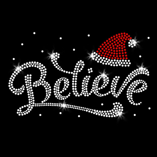 Santa Hat Believe Iron On Rhinestone Transfer