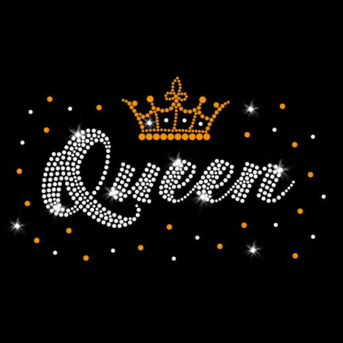 Queen Crown Iron On Rhinestone & Gold Rhinestud Transfer