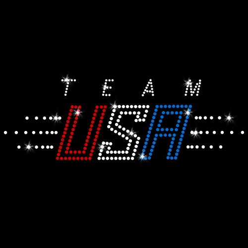 Team USA America Iron On Rhinestone Transfer