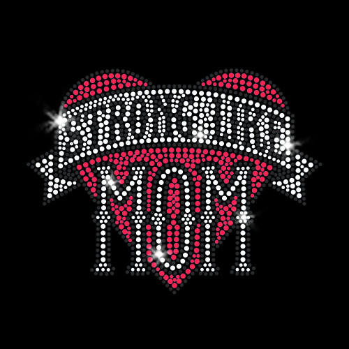 Strong Like Mom Heart Iron On Rhinestone & Pink Rhinestud Transfer