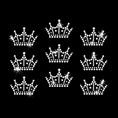 Set of 9 Mini Crown Tiara Iron On Rhinestone Transfer