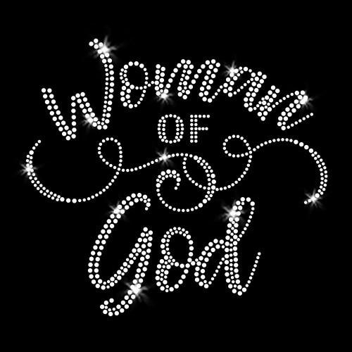 Woman of God Iron On Clear Rhinestone Transfers