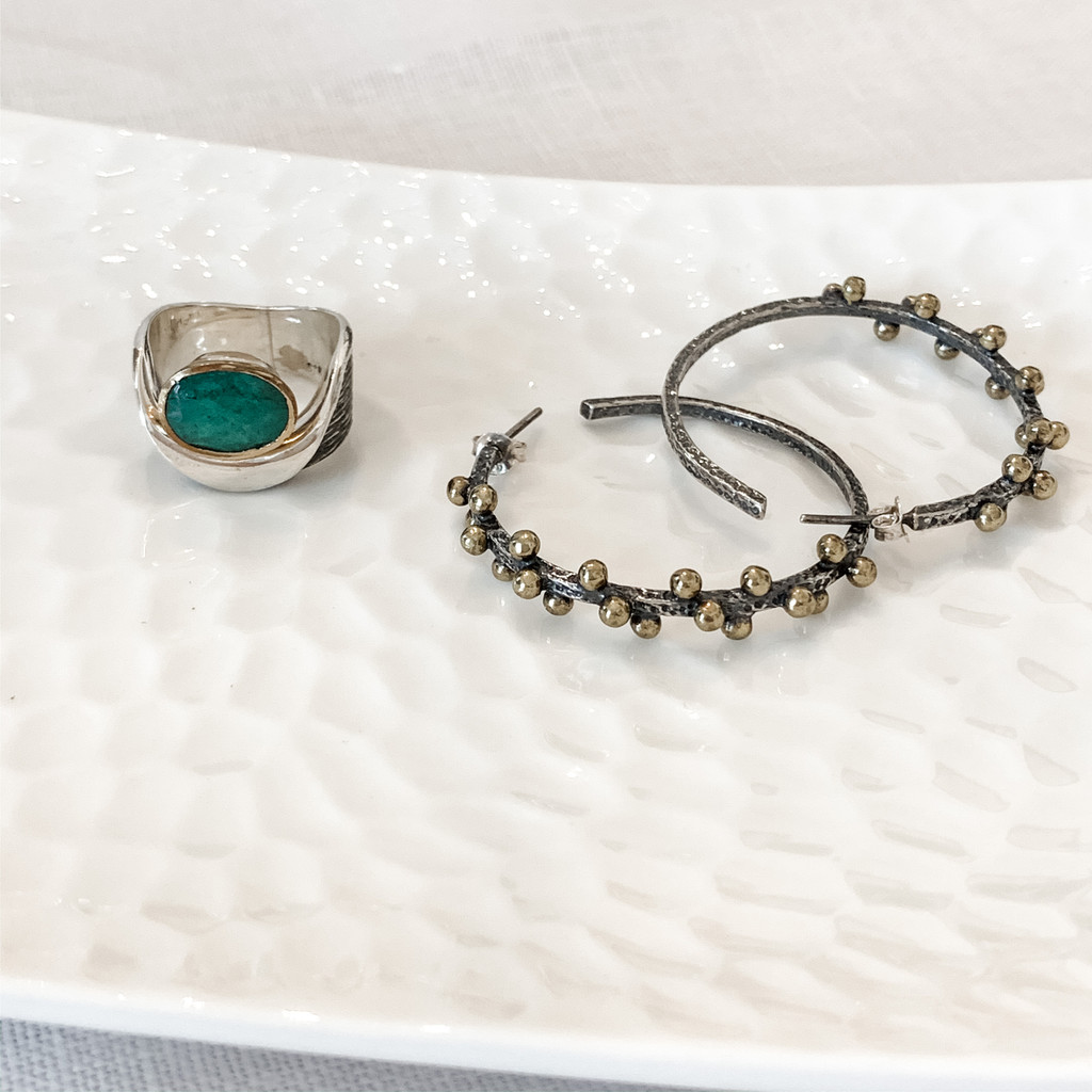 Sterling Silver and Indian Raw Emerald Ring with Bronze Accents