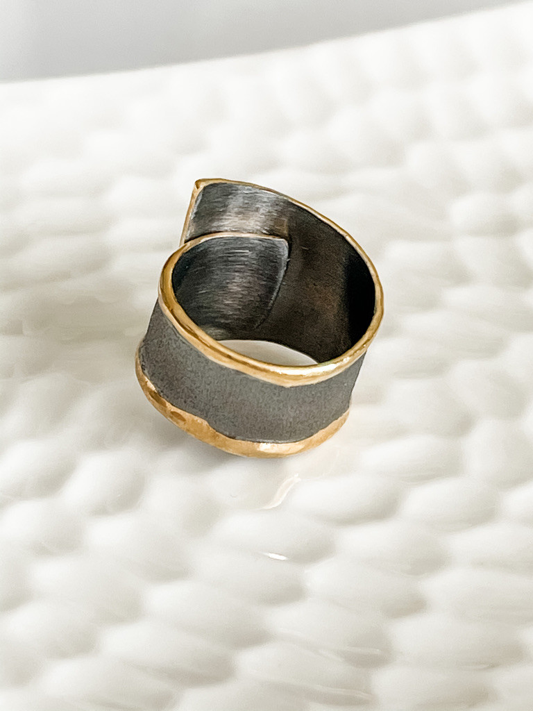 FINE SILVER WITH 24K GOLD  AND AQUAMARINE RING