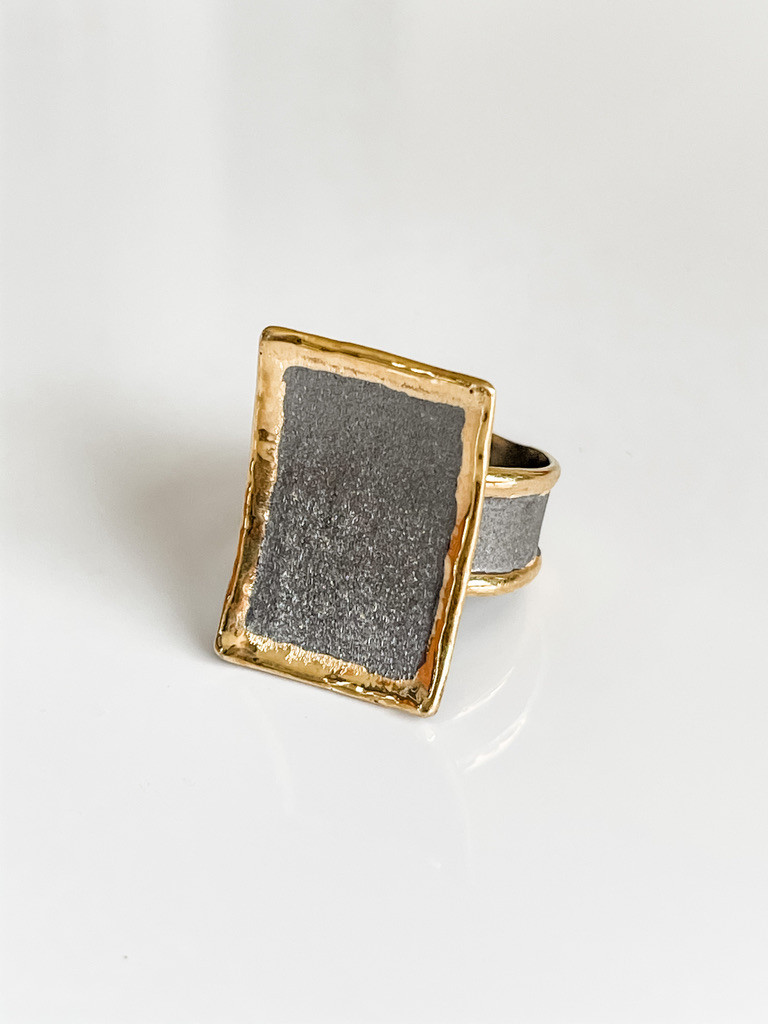 FINE SILVER AND 24K GOLD RING