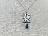 Sterling Silver Stamped Rectangle Necklace with Kyanite