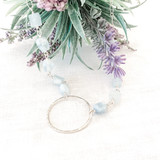 Sterling Silver Single Hoop with Rough Cut Aquamarines