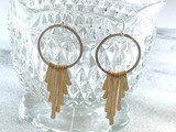 Sterling Silver and 14k Gold Filled Hoop and Gold Cascade Earrings