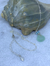 """Sterling Silver Chalcedony and Blue Topaz 16-18"""" adjustable necklace"""