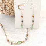 14K Gold Filled Peridot, Lolite and Hessonite Garnet Necklace
