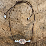 FRESH WATER BAROQUE PEARL AND CHERRY AGATE ON LEATHER NECKLACE