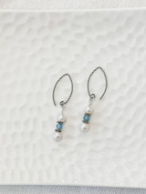 Sterling Silver, Fresh Water Pearls, and Aquamarine Earrings