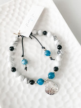 Apatite, Howlite, and Onyx Bracelet with Sterling Silver Beads, Starfish and Adjustable Leather Band