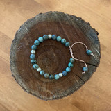 African Turquoise and Ethiopian Beads Bracelet with Adjustable Leather Band
