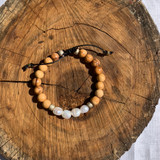 OLIVE WOOD AND BAROQUE PEARL BRACELET WITH BRASS BEADS AND LEATHER BAND