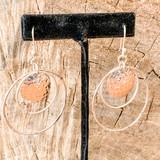 Sterling Silver Hammered Disk Hoop Earrings