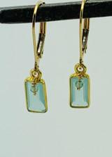 Bezel Aqua Chalcedony with Sage Sapphire Drop Earring
