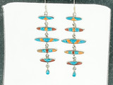 Multi Color Turquoise ans Sterling Silver Earrings