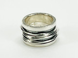 Sterling Silver  Two Tone Ring with Three Floating Bands
