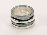Sterling Silver Two Tone Ring  With Two Tone Floating Bands