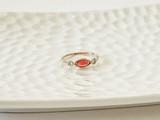 14K GOLD ORANGE SAPPHIRE AND DIAMOND RING