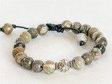 PETOSKEY FOSSIL AND STERLING SILVER BEADS ON LEATHER BRACELET