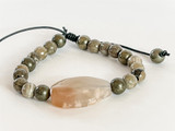 PETOSKEY FOSSIL, PYRITE, AND CHERRY AGATE ON LEATHER BRACELET
