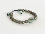 PYRITE AND AFRICAN TURQUOISE STERLING SILVER BEADS ON LEATHER BRACELET
