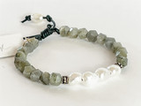 LABRADORITE, PEARL WITH STERLING SILVER BALI BEADS ON LEATHER BRACELET
