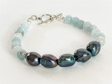 AQUAMARINE AND PEACOCK PEARL STERLING SILVER BRACELET