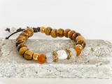 OLIVE WOOD, PERAL, AND CARNELIAN BRACELET ON LEATHER