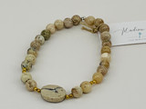 AFRICAN OPAL AND BRASS BEAD STRETCH BRACELET