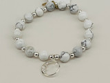 HOWLITE AND STERLING SILVER FILLED BEADS WITH STERLING SILVER FILLED MOON AND STARS CHARM STRETCH BRACELET