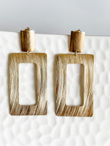 Rectangle Earrings Plated in 18K Gold