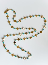 18K GOLD PLATED FLOWER AND NATURAL STONE LONG NECKLACE