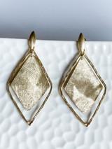 18K GOLD PLATED TEXTURED DIAMOND EARRINGS