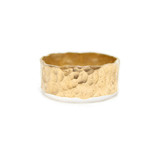 GOLD WIDE HAMMERED CIGAR RING BAND