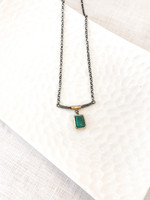 Sterling Silver and Indian Raw Emerald Pendant with Bronze Accents