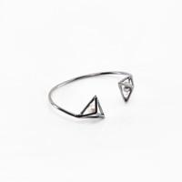 Prismatic Wire Cuff - Ruthenium and Pearl