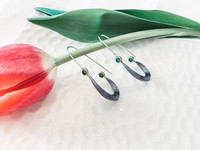 Sterling Silver and Hammered Bronze Accent with Lab Created Emeralds Earrings