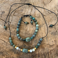 African Turquoise and White African Opal with Brass Beads on Leather Necklace