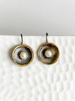 FINE SILVER AND 24K GOLD WITH PERAL EARRINGS