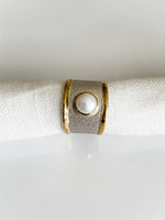 FINE SILVER AND 24K GOLD RING WITH PEARL