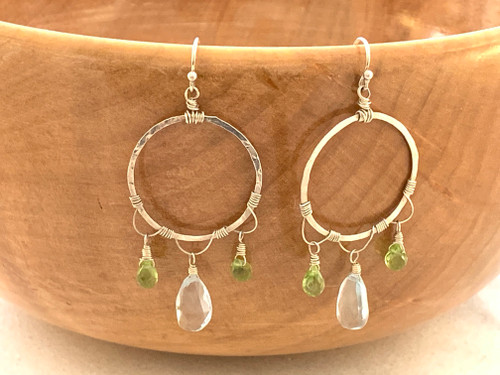 Lacework Hoops with Blue Topaz and Peridot