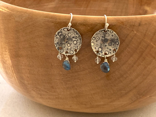 Stamped Bubbles with London Blue Topaz and  Quartz