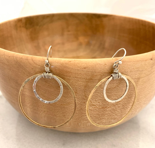 Sterling Silver and 14k Gold Mixed Large Hoop Earrings